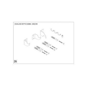 Plieger Cavallino Retto bevestigingsset designradiator dubbel breedte 298 mm, wit