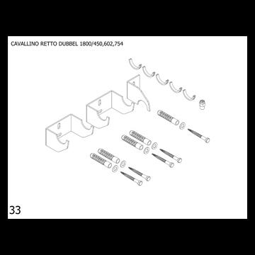 Plieger Cavallino Retto bevestigingsset designradiator dubbel breedte 450/602/754 mm, wit