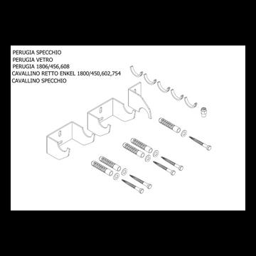 Plieger Cavallino Retto bevestigingsset designradiator enkel breedte 450/602/754 mm, perugia wit