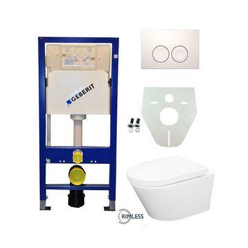 Toiletset Geberit UP100 Duofix + Wiesbaden Vesta rimless hangend toilet met zitting + Geberit Delta21 bedieningsplaat, wit