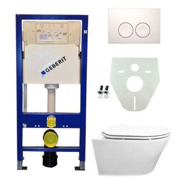Toiletset Geberit UP100 Duofix + Wiesbaden Vesta hangend toilet met Flatline 2.0 zitting + Geberit Delta21 bedieningsplaat, wit