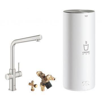GROHE Red 3-in-1 kokendwaterkraan L-uitloop & 7 liter combi-boiler, energielabel A, kinderbeveiliging, SuperSteel