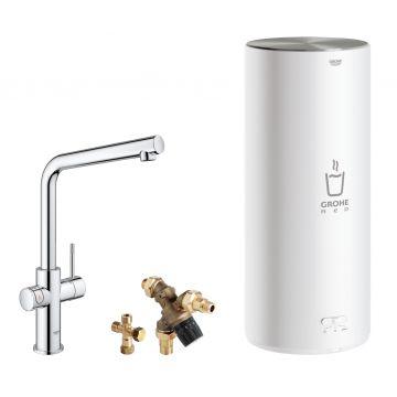 GROHE Red 3-in-1 kokendwaterkraan L-uitloop & 7 liter combi-boiler, energielabel A, kinderbeveiliging, chroom