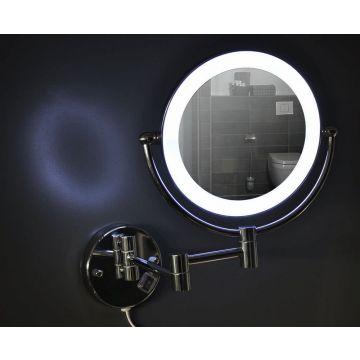 Wiesbaden Home scheerspiegel ø 20 cm met LED-verlichting, chroom