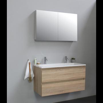 Sub Online badmeubelset met wastafel met 2 kraangaten met spiegelkast grijs (bxlxh) 100x46x55 cm, eiken / glans wit