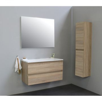 Sub Online badmeubelset met wastafel zonder kraangat met spiegel (bxlxh) 100x46x55 cm, eiken / glans wit