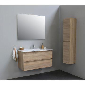 Sub Online badmeubelset met wastafel met 1 kraangat met spiegel (bxlxh) 100x46x55 cm, eiken / glans wit