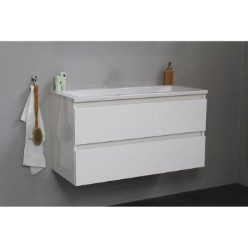 Sub Online badmeubelset met wastafel zonder kraangat (bxlxh) 100x46x55 cm, hoogglans wit / glans wit