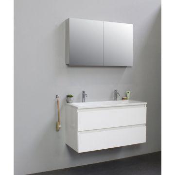 Sub Online badmeubelset met wastafel met 2 kraangaten met spiegelkast grijs (bxlxh) 100x46x55 cm, hoogglans wit / glans wit
