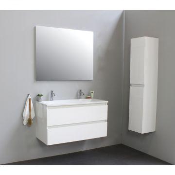 Sub Online badmeubelset met wastafel met 2 kraangaten met spiegel (bxlxh) 100x46x55 cm, hoogglans wit / glans wit