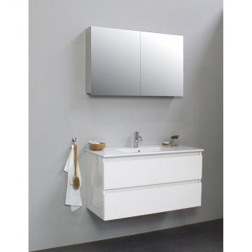 Sub Online badmeubelset met wastafel met 1 kraangat met spiegelkast grijs (bxlxh) 100x46x55 cm, hoogglans wit / glans wit