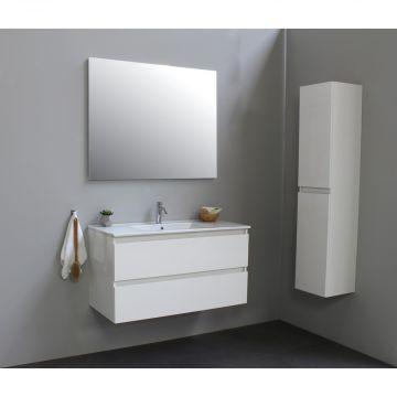 Sub Online badmeubelset met wastafel met 1 kraangat met spiegel (bxlxh) 100x46x55 cm, hoogglans wit / glans wit