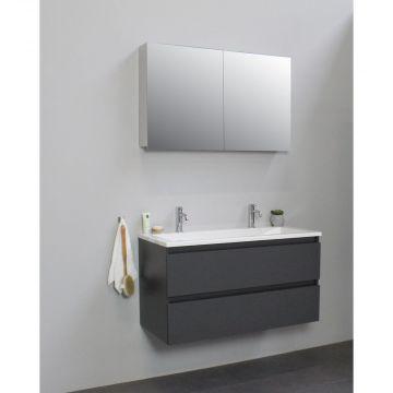 Sub Online badmeubelset met wastafel met 2 kraangaten met spiegelkast grijs (bxlxh) 100x46x55 cm, mat antraciet / glans wit