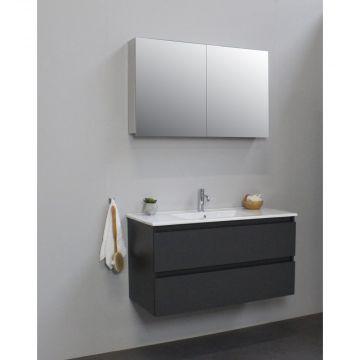 Sub Online badmeubelset met wastafel met 1 kraangat met spiegelkast grijs (bxlxh) 100x46x55 cm, mat antraciet / glans wit