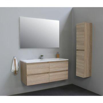 Sub Online badmeubelset met wastafel zonder kraangat met spiegel (bxlxh) 120x46x55 cm, eiken / glans wit