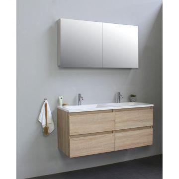 Sub Online badmeubelset met wastafel met 2 kraangaten met spiegelkast grijs (bxlxh) 120x46x55 cm, eiken / glans wit