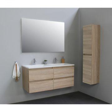 Sub Online badmeubelset met wastafel met 2 kraangaten met spiegel (bxlxh) 120x46x55 cm, eiken / glans wit