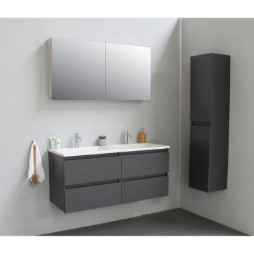 Sub Online badmeubelset met wastafel met 2 kraangaten met spiegelkast grijs (bxlxh) 120x46x55 cm, mat antraciet / glans wit