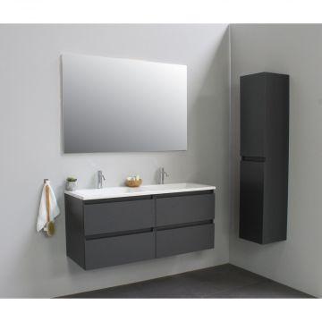 Sub Online badmeubelset met wastafel met 2 kraangaten met spiegel (bxlxh) 120x46x55 cm, mat antraciet / glans wit