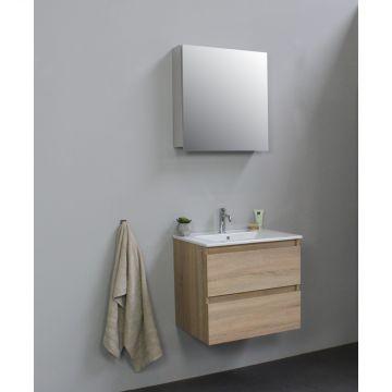 Sub Online badmeubelset met wastafel met 1 kraangat met spiegelkast grijs (bxlxh) 60x46x55 cm, eiken / glans wit
