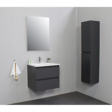 Sub Online badmeubelset met wastafel met 1 kraangat met spiegel (bxlxh) 60x46x55 cm, mat antraciet / glans wit