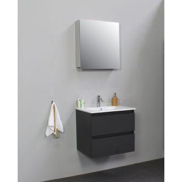 Sub Online badmeubelset met wastafel met 1 kraangat met spiegelkast grijs (bxlxh) 60x46x55 cm, mat antraciet / glans wit