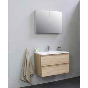 Sub Online badmeubelset met wastafel met 1 kraangat met spiegelkast grijs (bxlxh) 80x46x55 cm, eiken / glans wit