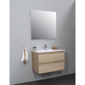 Sub Online badmeubelset met wastafel met 1 kraangat met spiegel (bxlxh) 80x46x55 cm, eiken / glans wit
