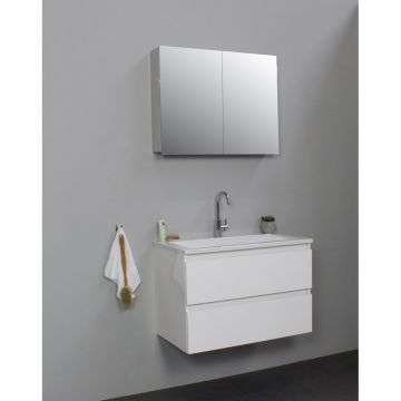 Sub Online badmeubelset met wastafel met 1 kraangat met spiegelkast grijs (bxlxh) 80x46x55 cm, hoogglans wit / glans wit