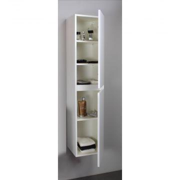 Sub Online greeploze hoge kast met 2 deuren 145 x 30 x 30 cm, hoogglans wit
