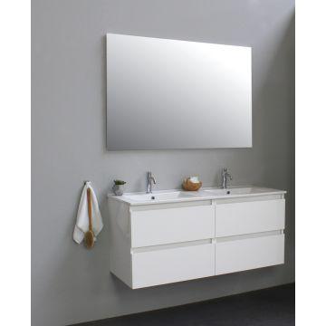 Sub Online badmeubelset met wastafel met 2 kraangaten met spiegel (bxlxh) 120x46x55 cm, hoogglans wit / glans wit