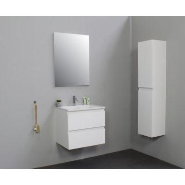 Sub Online badmeubelset met wastafel met 1 kraangat (bxlxh) 60x46x55 cm, hoogglans wit / glans wit