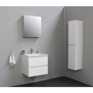 Sub Online badmeubelset met wastafel met 1 kraangat met spiegelkast (bxlxh) 60x46x55 cm, hoogglans wit