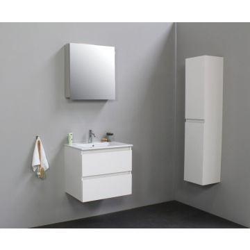 Sub Online badmeubelset met wastafel met 1 kraangat met spiegelkast grijs (bxlxh) 60x46x55 cm, hoogglans wit / glans wit