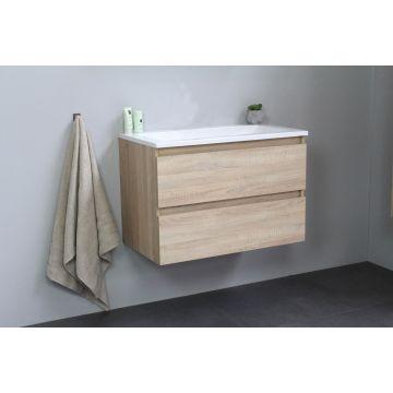 Sub Online badmeubelset met wastafel zonder kraangat (bxlxh) 80x46x55 cm, eiken / glans wit