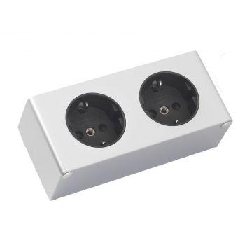 Sub Online dubbel stopcontact voor de spiegelkast, aluminium