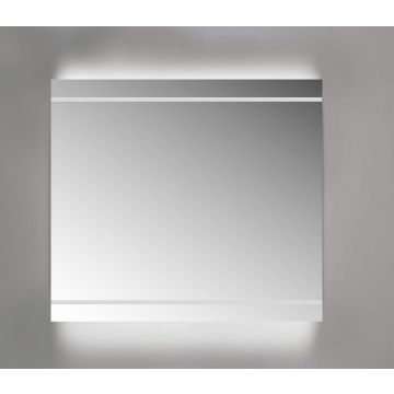 Sub spiegel met led-verlichting boven en onder, 100x3x70 cm, aluminium