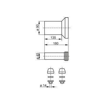 Plieger wandclosetaansluiting recht 180mm complete aansluitset