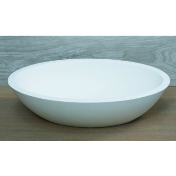 Luca Sanitair Luva ovale opzetwastafel van solid surface 57 x 34 x 14,5 cm mat wit