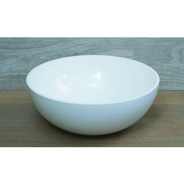 Luca Sanitair Luva ronde opzetwastafel met dunne rand van mineral stone 40 x 40 x 15,5 cm, glanzend wit