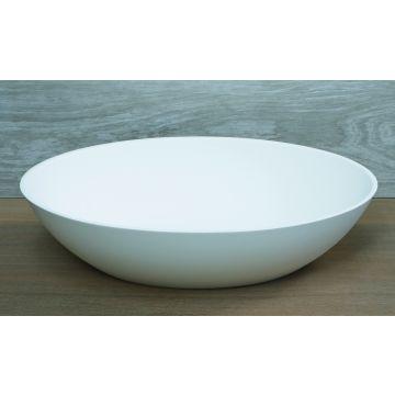 Luca Sanitair Luva ovale opzetwastafel met dunne rand van mineral stone 57 x 40,5 x 14,5 cm, mat wit