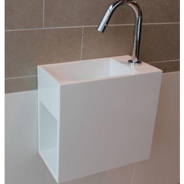 Luca Sanitair Luva fontein met kraangat en open schap links van solid surface 35 x 18,5 x 32 cm, mat wit