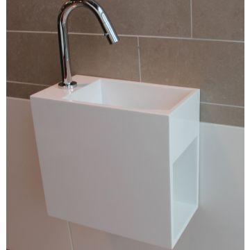 Luca Sanitair Luva fontein met kraangat en open schap rechts van solid surface 35 x 18,5 x 32 cm, mat wit