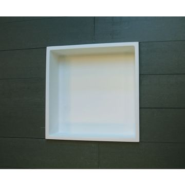 Luca Sanitair Luva inbouwnis/opbouwnis van solid surface 29,5 x 29,5 x 8 cm, mat wit