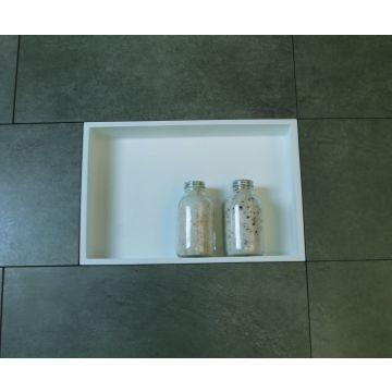 Luca Sanitair Luva inbouwnis/opbouwnis van solid surface 44,5 x 29,5 x 8 cm, mat wit