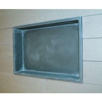 Luca Sanitair Luva inbouwnis/opbouwnis van stone resin 44,5 x 29,5 x 8 cm, mat antraciet