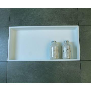 Luca Sanitair Luva inbouwnis/opbouwnis van solid surface 59,5 x 29,5 x 8 cm, mat wit