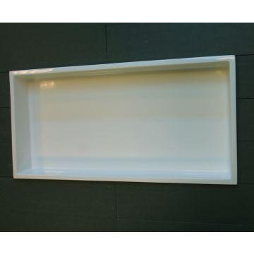 Luca Sanitair Luva inbouwnis/opbouwnis van stone resin 59,5 x 29,5 x 8 cm, glanzend wit