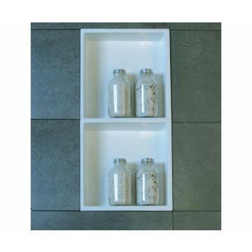 Luca Sanitair Luva inbouwnis/opbouwnis met 2 schappen van stone resin 59,5 x 29,5 x 8 cm, glanzend wit