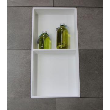 Luca Sanitair Luva inbouwnis/opbouwnis met 2 schappen van solid surface 59,5 x 29,5 x 8 cm, mat wit